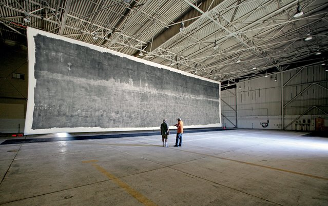 World's Largest Pinhole Camera Takes World's Largest Photo. (Photo by Caters News)