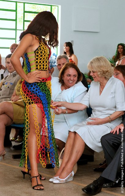 Camilla, Duchess of Cornwall watches a fashion show by Brazilian models wearing outfits made from recycled rubbish on March 14, 2009 in Manaus, Brazil