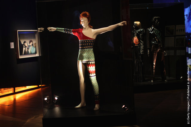 A costume designed by Japanese designer Kansai Yamamoto for David Bowie's Ziggy Stardust character is display at the Victoria and Albert museums' new major exhibition, 'British Design 1948-2012: Innovation In The Modern Age'