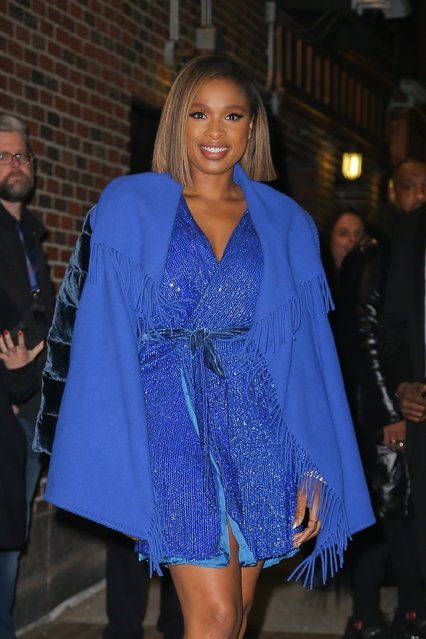 Songstress Jennifer Hudson looks stylish in a mini blue dress paired with a blue coat while out in NYC on December 16, 2019. (Photo by Backgrid USA)