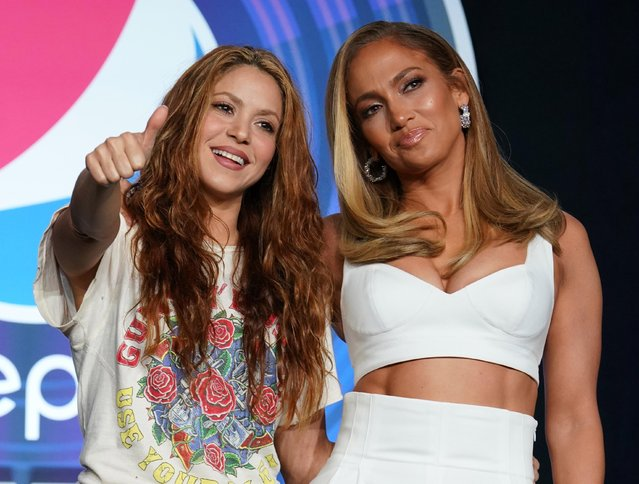 Shakira and Jennifer Lopez during the Pepsi Super Bowl LIV Halftime show press conference on January 30, 2020 at the Hilton Downtown Miami in Miami, FL. (Photo by Kirby Lee/USA TODAY Sports)