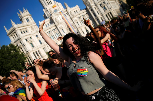 Revellers attend a gay pride parade in downtown Madrid, Spain, July 2, 2016. (Photo by Andrea Comas/Reuters)
