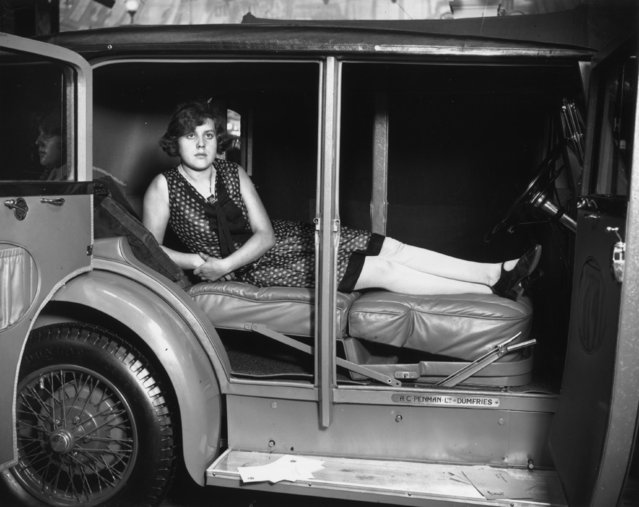 A camping car at the Motor Show, Olympia, showing how the inside can be adjusted to make a bed. Built by A. C. Penman Ltd of Dumfries. 17th October 1929. (Photo by Edward G. Malindine)