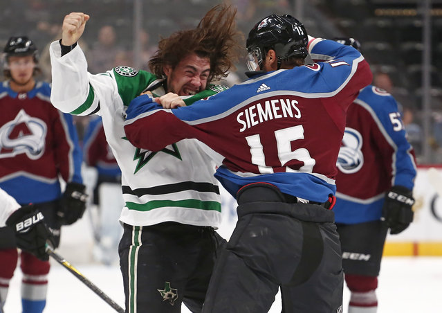 Dallas Stars left winger Remi Elie fights with Colorado Avalanche defenseman Duncan Siemens during the first period of a pre-season hockey game Thursday, September 21, 2017, in Denver. (Photo by Jack Dempsey/AP Photo)