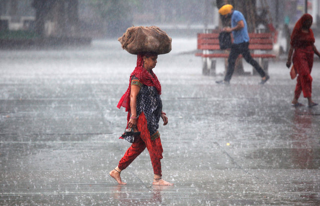 A woman carries a sack outside a market during heavy rains in Chandigarh, India, August 4, 2016. (Photo by Ajay Verma/Reuters)