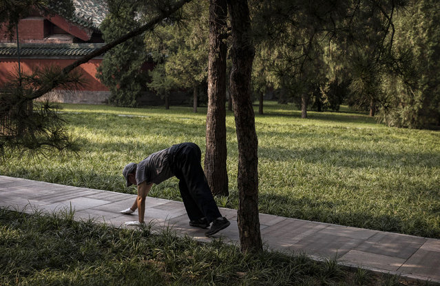 A Chinese man bends over as he walks on his hands while exercising at a local park on September 5, 2014 in Beijing, China.(Photo by Kevin Frayer/Getty Images)