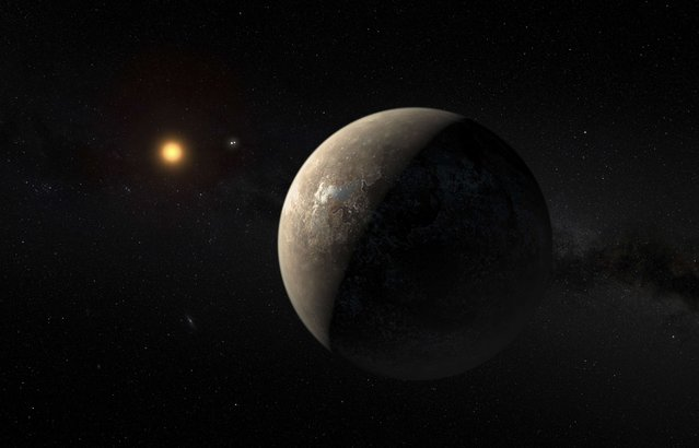 The planet Proxima b orbiting the red dwarf star Proxima Centauri, the closest star to our Solar System, is seen in an undated artist's impression released by the European Southern Observatory August 24, 2016. (Photo by M. Kornmesser/Reuters/ESO)