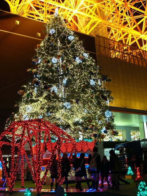 A giant Christmas tree stands below Tokyo Tower. (Photo by  Japan Today)