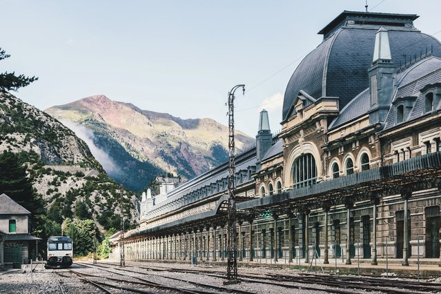 Canfranc station, Spain. As one of the gateways between France and Spain, Canfranc station, high in the Pyrenees, was designed in an art nouveau style, only to become an elegant anachronism. It was built in 1928, but international traffic ceased in 1970 when a railway bridge on the French side collapsed and wasn't rebuilt. A couple of local trains still run each day on the Spanish side. (Photo by Victor Torres/Stocksy)