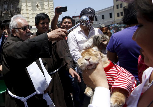 Owners hold their pets as a Catholic priest (L) blesses them outside the San Francisco church in Lima, October 4, 2015. (Photo by Mariana Bazo/Reuters)