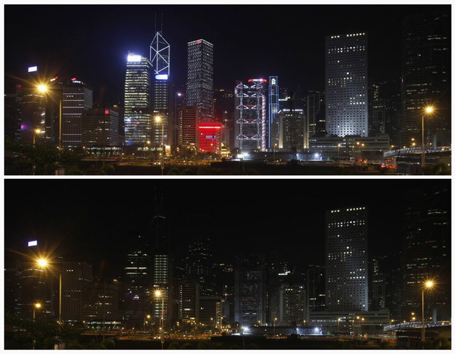A combination picture shows the financial Central District of Hong Kong (top) before Earth Hour, and during Earth Hour March 23, 2013. Earth Hour, when everyone around the world is asked to turn off lights for an hour from 8.30 p.m. local time, is meant as a show of support for tougher action to confront climate change. (Photo by Bobby Yip/Reuters)
