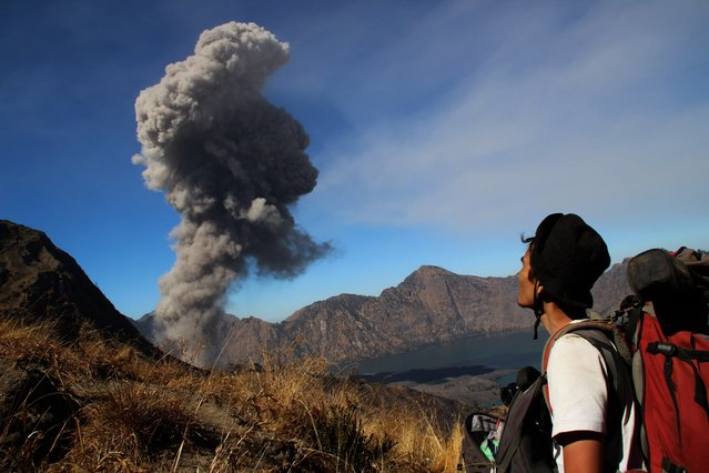 This picture taken on November 1, 2015 shows an Indonesian man looking on as Mount Baru Jari spews volcanic ash as seen from Mount Rinjani in Lombok, Nusa Tenggara Barat. Mount Baru Jari (2,375 metres), on the flanks of Mount Rinjani which at 3,726 metres is second in height among Indonesian volcanoes, recently showed volcanic activity. (Photo by AFP Photo/Pikong)