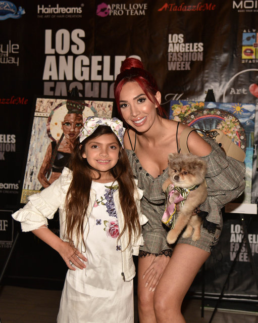 Reality TV personality Farrah Abraham and daughter Sophia arrive at the Art Hearts Fashion show at The MacArthur with Pop Artist Sham Ibrahim and actress Phoebe Price on March 13, 2018. Ibrahim will be the presenting an exhibit honoring model and actress Kelly Le Brock at AHF on Thursday evening. (Photo by Mark Stout/Splash News and Pictures)