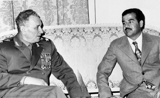 Soviet Defense Minister Gen. Andrei Grechko, left, talks with Iraqi Minister of Interior Saddam Hussein in Baghdad, December 15, 1971. The witnesses to Saddam Hussein's impending execution gathered Friday, Dec. 29, 2006 in Baghdad's fortified Green Zone in final preparation for his hanging, as state television broadcast footage of his regime's atrocities. (Photo by AP Photo)
