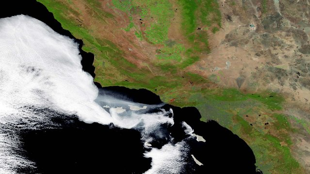 The wildfires in Ventura County are seen from space on Friday. (Photo by NOAA via Getty Images)