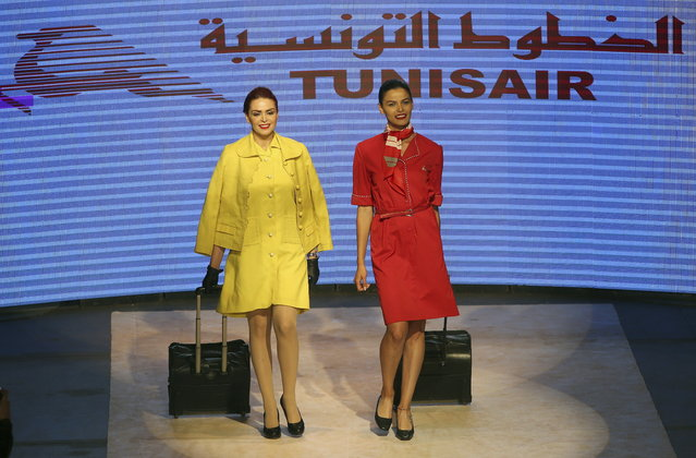 Model exhibit clothes from the 70 years of Tunisair crew uniforms presentation during the Tunis Fashion Week 2018 in Tunis, Tunisia, 12 May 2018. (Photo by Mohamed Messara/EPA/EFE)