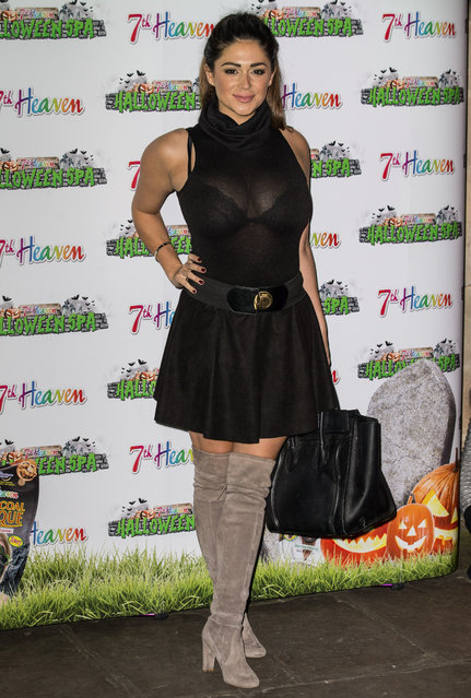 Casey Batchelor in a sheer mini-dress at the7th Heaven's Halloween Spa in London, UK on October 25, 2016. (Photo by James Gourley/Rex Features/Shutterstock)