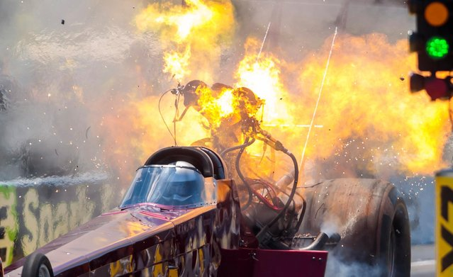 NHRA top fuel driver Kyle Wurtzel explodes an engine on fire during qualifying for the E3 Spark Plugs Nationals at Lucas Oil Raceway. in Clermont, Indiana on July 11, 2020. (Photo by Mark J. Rebilas/USA TODAY Sports)