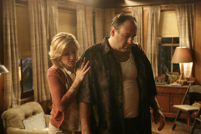 "In this file photo, originally released by HBO in 2007, Edie Falco portrays Carmela Soprano and James Gandolfini is Tony Soprano in a scene from one of the last episodes of the hit HBO dramatic series ""The Sopranos"". (Photo by Craig Blankenhorn/AP Photo/HBO)"