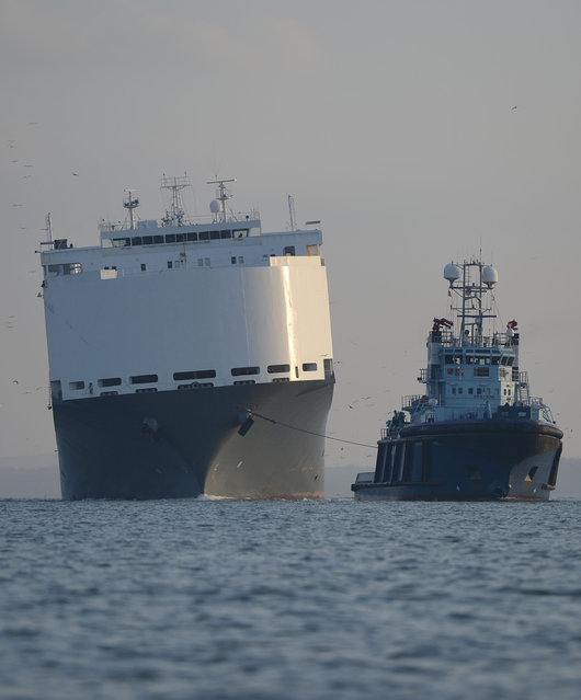 Car carrier Hoegh Osaka, left, is towed back into port at Southampton southern England Thursday January 22, 2015 a decision was made earlier Thursday to bring the 51,000-tonne ship back into Southampton, after salvors had successfully reduced its list to five degrees. The Singapore-registered vessel, which has a cargo of 1,400 cars and 105 pieces of construction equipment. (Photo by Andrew Matthews/AP Photo/PA Wire)