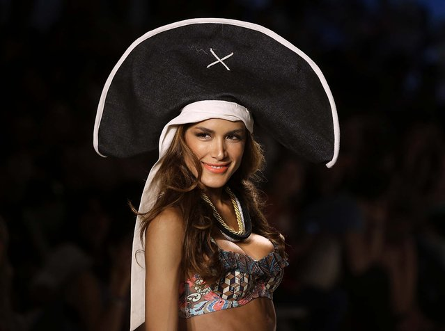 A model walks the runway during the Maaji show. (Photo by Lynne Sladky/Associated Press)