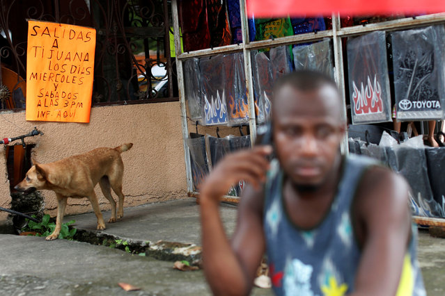 "A placard is seen behind a Haitian migrant talking on a mobile in Tapachula, Chiapas, Mexico November 16, 2016. The placard reads ""Departures to Tijuana, Wednesdays and Saturdays at 3pm here"". (Photo by Carlos Jasso/Reuters)"