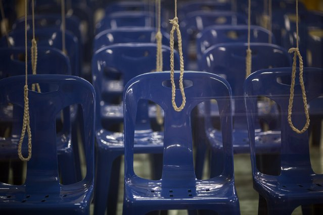 Chairs and ropes are ready for a wedding ceremony at Wat Takien temple in Nonthaburi province, on the outskirts of Bangkok February 14, 2015. (Photo by Damir Sagolj/Reuters)