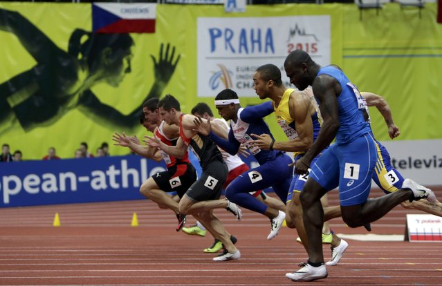 Athletes compete in the men's 60 metres semifinals during the European Indoor Championships in Prague March 8, 2015. REUTERS/David W Cerny (CZECH REPUBLIC  - Tags: SPORT ATHLETICS)