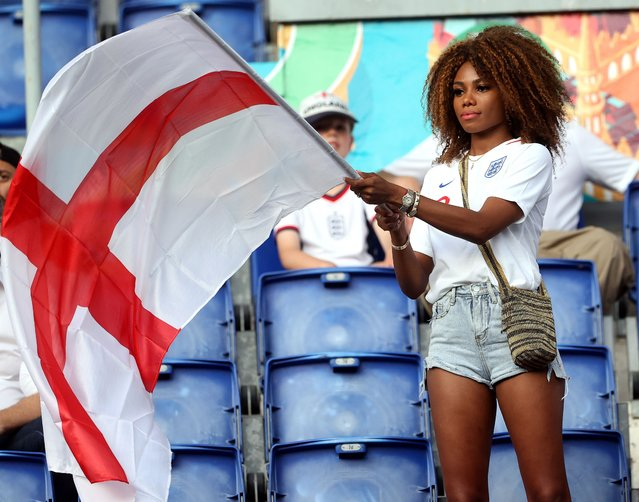 A fan of England cheers prior to the UEFA EURO 2020 quarter final match between Ukraine and England in Rome, Italy, 03 July 2021. (Photo by Mike Hewitt /EPA/EFE)