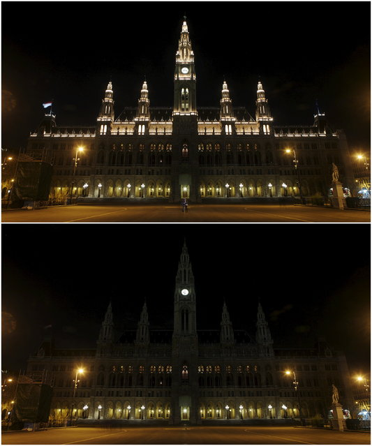 A combination picture shows the city hall before and during Earth Hour in Vienna March 28, 2015. (Photo by Heinz-Peter Bader/Reuters)