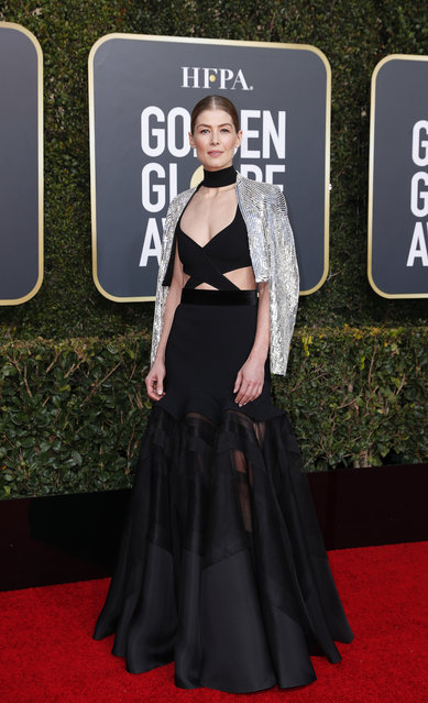 Rosamund Pike arrives at the 76th annual Golden Globe Awards at the Beverly Hilton Hotel on Sunday, January 6, 2019, in Beverly Hills, Calif. (Photo by Mike Blake/Reuters)