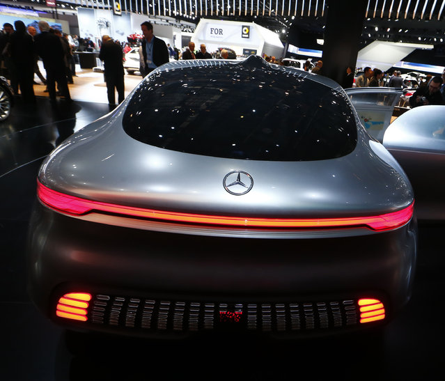 Rear view of the Mercedes Benz F015 Luxury in Motion concept on display during the second press day of the North American International Auto Show in Detroit Tuesday, January 13, 2015. (Photo by Mark Blinch/Reuters)
