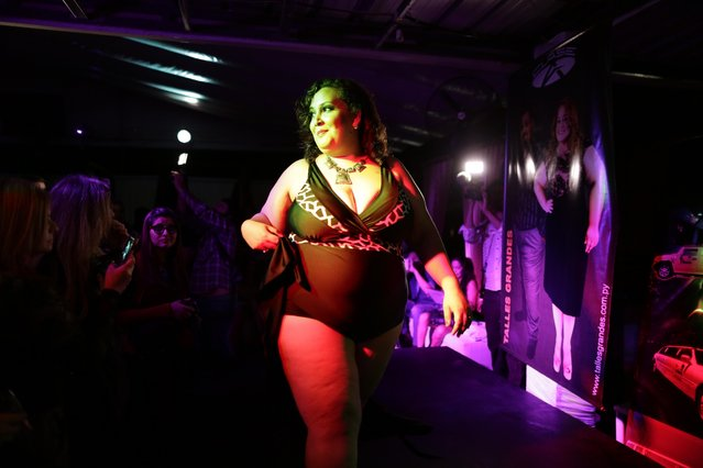 "Isabel Sosa competes in the swimsuit portion of the fourth annual ""Miss Gordita"" beauty contest in Asuncion, Paraguay, Saturday, April 25, 2015. Brazilian-Paraguayan writer Michael Beras became aware of the discrimination against obese women while working on research for his book on heterosexual couples, and thought the pageant would be a way to to enhance the self-esteem of women carrying extra pounds. (Photo by Jorge Saenz/AP Photo)"