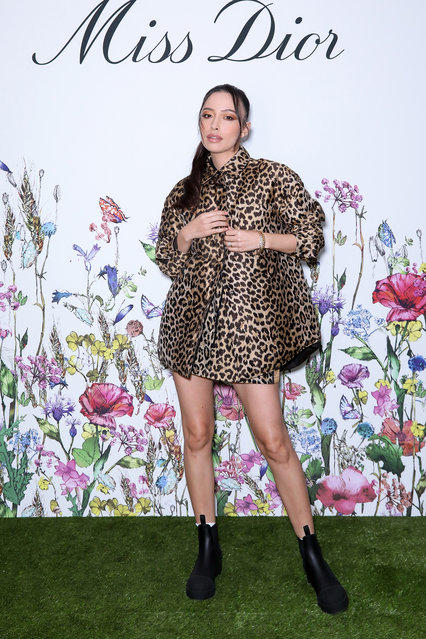 American actress Christian Serratos attends the Miss Dior Party at l'Avenue Restaurant on September 28, 2021 in Paris, France. (Photo by Francois Goize)