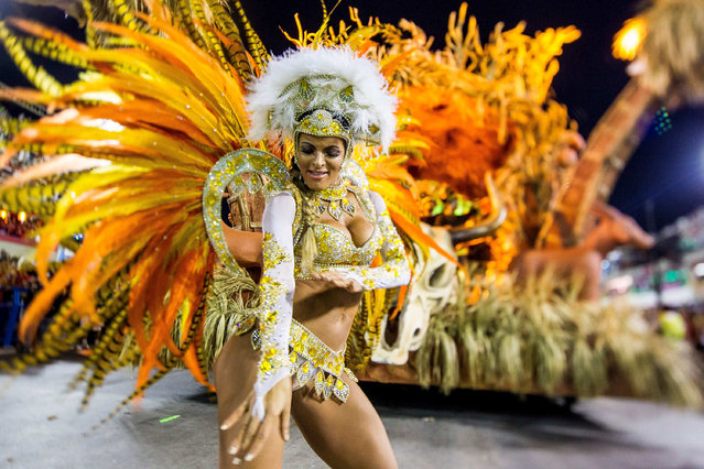 A member of Vila Isabel samba school performs during its parade at 2014 Brazilian Carnival at Sapucai Sambadrome on March 03, 2014 in Rio de Janeiro, Brazil. (Photo by Buda Mendes/Getty Images)