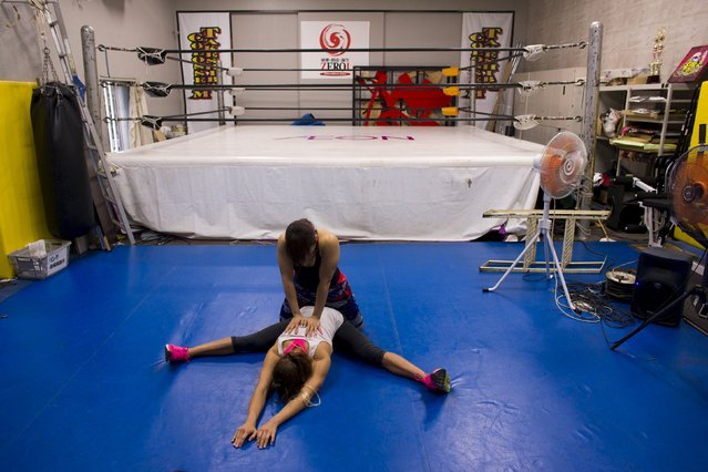 Stardom female professional wrestling guest fighter Chelsea (bottom) trains with a fellow wrestler at a boxing gym in Tokyo, Japan, October 1, 2015. (Photo by Thomas Peter/Reuters)