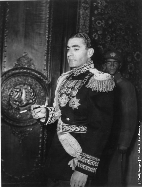 Muhammad Reza Shah Pahlavi (1919 - 1980), the Shah of Iran, immediately before his wedding