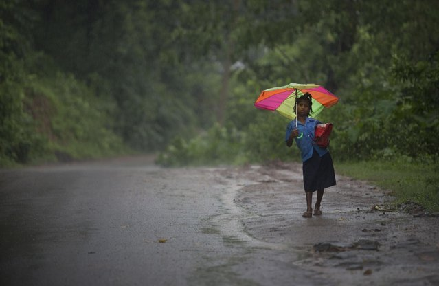 A student walks back home after attending school as it rains at Reba Maheswar village, 56 kilometers (35 miles) east of Gauhati, India, Friday, July 3, 2015. (Photo by Anupam Nath/AP Photo)