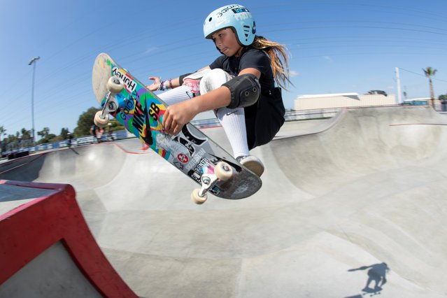 Skateboarder Sky Brown trains to become Britain's youngest summer Olympian at a skatepark in Huntington Beach, California, September 20, 2019. Brown, the 11-year-old skateboarding prodigy who is poised to become Britain's youngest ever Olympian at the 2020 Tokyo Games, has already amassed an enviable resume. Pro skater, surfing phenom, Dancing with the Stars juniors champion and determined philanthropist, Brown is transforming ideas about what the next generation is capable of. (Photo by Mike Blake/Reuters)