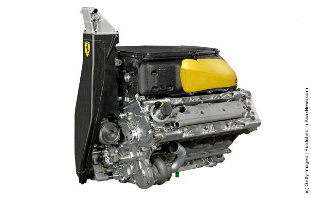 A general view of the Ferrari engine as the new Ferrari F2012 Formula one car is launched online on February 03, 2012