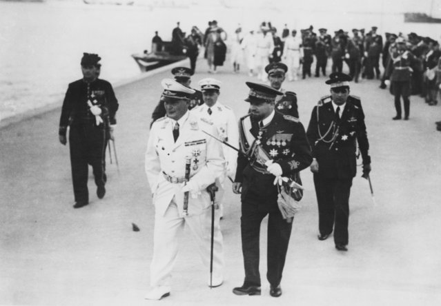 German military leader Hermann Goering (1893 - 1946, left) with Marshal Italo Balbo (1896 - 1940, right) in Tripoli, Libya, 12th April 1939. (Photo by Keystone/Hulton Archive/Getty Images)