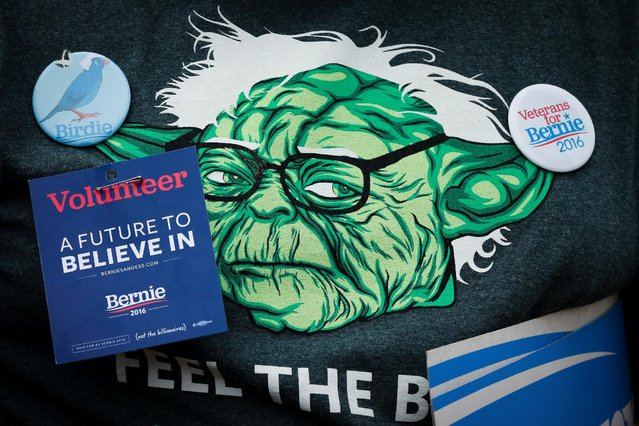 A t-shirt of a supporter of Democratic U.S. presidential candidate Bernie Sanders is adorned with pins at a campaign rally in San Francisco, California, U.S. June 6, 2016. (Photo by Elijah Nouvelage/Reuters)