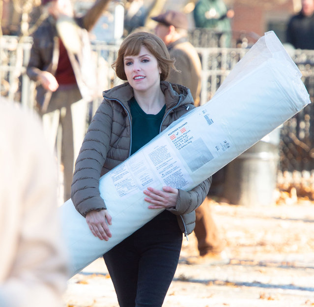 Anna Kendrick filming Love Life in NYC on December 20, 2019. (Photo by Splash News and Pictures)