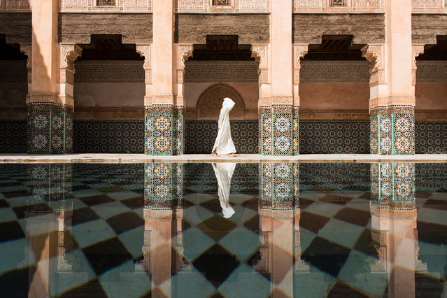 First place, cities: Ben Youssef. Even though there were a lot of people in Ben Youssef, still here was more quiet and relaxing compared to the street outside in Marrakesh. I was waiting for the perfect timing to photograph for long time. (Photo by Takashi Nakagawa/National Geographic Travel Photographer of the Year Contest)