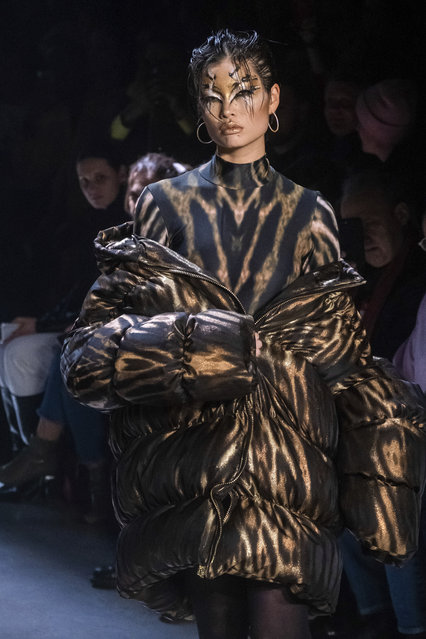 The Christian Cowan collection is modeled at Spring Studios during NYFW Fall/Winter 2020, Tuesday, February 11, 2020, in New York. (Photo by Charles Sykes/Invision/AP Photo)