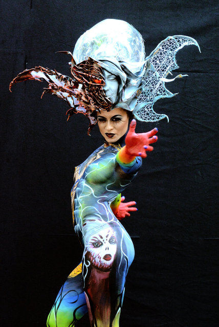 A model poses with her bodypainting designed by bodypainting artist Daniele Piovano from Italy, in the 2016 World Bodypainting Festival, 2016 in Poertschach am Woerthersee, Austria. (Photo by Didier Messens/Getty Images)