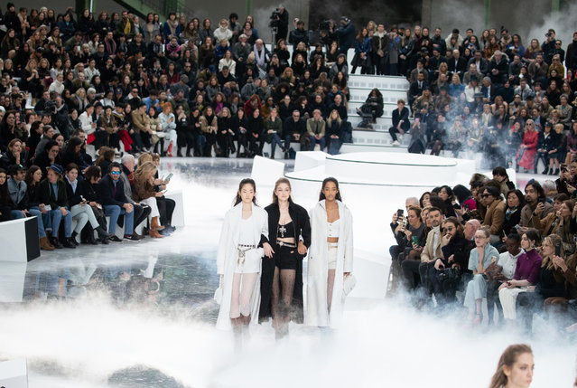 Gigi Hadid (C) walks the runway during the Chanel show as part of the Paris Fashion Week Womenswear Fall/Winter 2020/2021 on March 3, 2020 in Paris, France. (Photo by Victor Boyko/Getty Images)