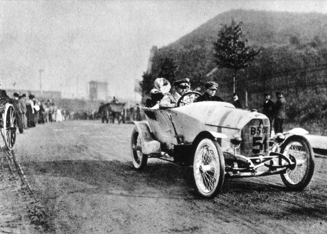 German racing driver and engineer Ferdinand Porsche (1875–1951) driving an Austro Daimler at the Prince Henry Trial, 1910. (Photo by Keystone)