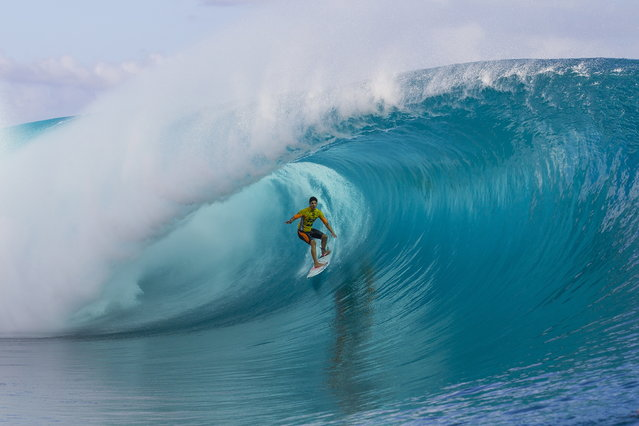 Gabriel Medina of Brazil in action on his way winning the prestigious Billabong Pro Tahiti at Teahupo'o, 26 August 2014.  Medina defeated 11-time ASP World Champion Kelly Slater (USA) in the Final to claim his third win of the 2014 season. (Photo by Kirstin Scholtz/EPA)
