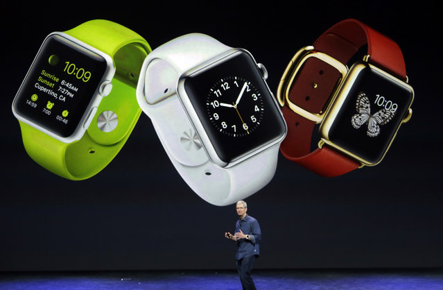 Apple CEO Tim Cook discusses the new Apple Watch on Tuesday, September 9, 2014, in Cupertino, Calif. (Photo by Marcio Jose Sanchez/AP Photo)
